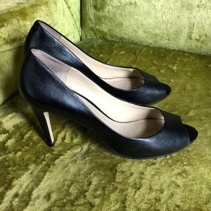 Aldo black leather peep toe pumps 8-8.5 worn 2x